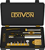 LEXIVON Butane Soldering Iron Multi-Purpose Kit   Cordless Self-Igniting Adjustable Flame 7-Tip Set   Pro Grade 125-Watt Equivalent (LX-770)