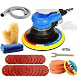ZFE Random Orbital Sander 5' & 6' Pneumatic Palm Sander with Extra 5' Backing Plate, Sponge Polishing Pads, Sandpapers Low Vibration and Heavy Duty for Wood, Composites, Metal
