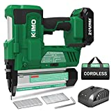 KIMO 20V 18 Gauge Cordless Brad Nailer/Stapler Kit, 2 in 1 Cordless Nail/Staple Gun w/ Lithium-Ion Battery&Fast Charger, 18GA Nails/Staples, Single or Contact Firing for Home Improvement, Woodworking*